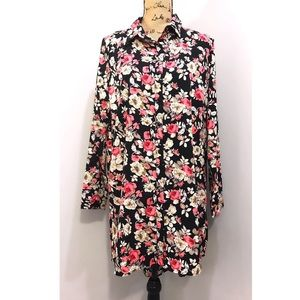 NWT Boohoo Black Floral Shift Dress